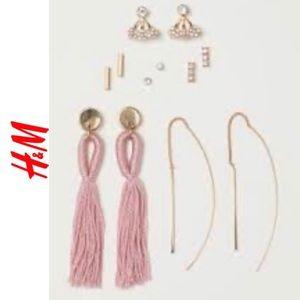 H&M tassel earring vertical bar new card pink gold